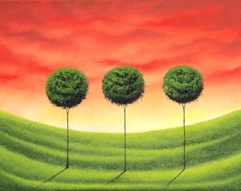 Abstract Tree Landscape Print, Giclee Print of Green Tree Art, Orange Sky, Mid Century Modern Art Print, Green Abstract Landscape Print