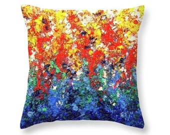 Rainbow Accent Pillow, Colorful Decorative Pillow, Abstract Art Home Decor, Expressionist Art Pillow, Throw Pillow, Bright Living Room Decor
