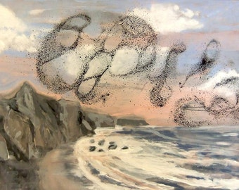 Over Big Sur - Flock of Sea Birds - Original Acrylic Painting