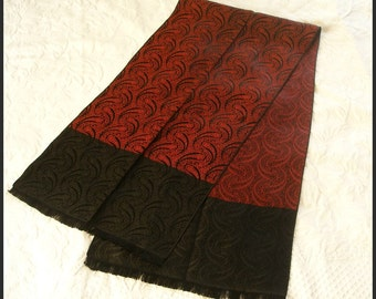 Vintage Mens Scarf Opera Scarf Black Red Brocade CURRIE