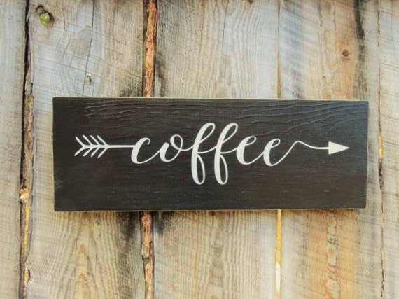 Rustic home decor kitchen decor sign coffee sign coffee arrow for Home decor outlet near me