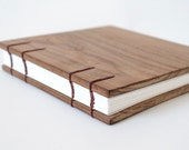 Square Teak Wood Coptic Lay Flat Sketchbook Journal Album