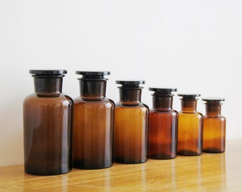 Vintage Apothecary Jars - Set of 6 Vintage Amber Glass Apothecary Jars, Bottles - Science Decor