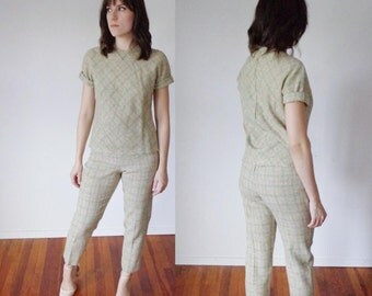 Vtg 60s PENDELTON Pastel Green, Grey, & Orange Top and CIGARETTE Pants OUTFIT, Medium