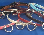 Leather O-Ring or Heart Ring Hoop Choker 10mm Wide Necklace Choice of Colours Hand Made Real Leather