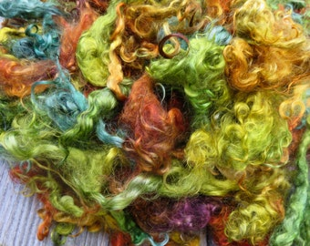 Dyed Mohair Fleece, 2 Ounces, Spin, Felt, Doll Hair, Forest Glade