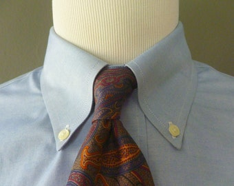Vintage Brooks Brothers MAKERS All Silk Rich Autumnal Floral Paisley Trad / Ivy League Neck Tie.  Made in USA.