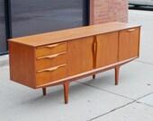 Vintage Mid Century Modern Credenza/ Vintage Teak Sideboard/ Danish Modern
