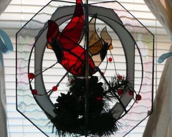 Cardinals in Stained Glass Whirl Suncatcher