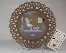 Circa 1975 Westmoreland Mary Gregory Plate Young Girl & Dog Swinging #30-1 Brown Satin Mist Open Wicker Lace Rim Brand New with Hang Tag - T
