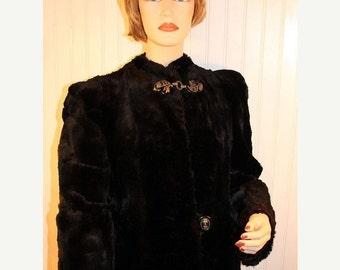 50% Off Valentines Sale Vintage Black Mouton Lamb Fur Coat sz M/L