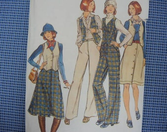 vintage 1970s Butterick sewing pattern 4358 misses vest skirt and pants size 16