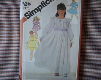 vintage 1980s Simplicity sewing pattern 5396 UNCUT girls pullover dress in two lengths  size 12