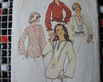 vintage 1970s simplicity sewing pattern 6777 misses pullover tops size 9 10 and 11 12