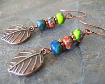 Colorful Imperial Jasper Gemstone Antique Copper Earrings with Dangling Copper Leaves Rustic Boho Artisan
