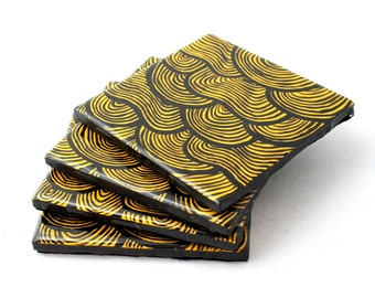resin tile coasters- set of 4, handpainted coasters, scallop design coasters, line coasters, painted coasters, yellow, black, hand-painted