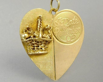 Vintage 14K Gold Charm A Date To Remember Bridal Wedding Heart Pendant Special Occasion