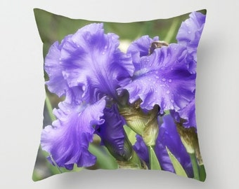 Bearded Irises, Decorative Throw Pillow, Art Throw Pillow, Floral Pillow, Outdoor Pillows, Throw Pillow, Flower Photography