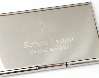 Business Card Case with Polished or Brushed Satin Finish Personalized Business Card Holder, Gifts Under 20