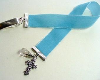 Velvet Ribbon Bookmark, Dusty Blue, Silver Cross Bookmark, Vintage Style, Book Mark, Book Lover, Valentine's Day Gift, Bookmark Clip