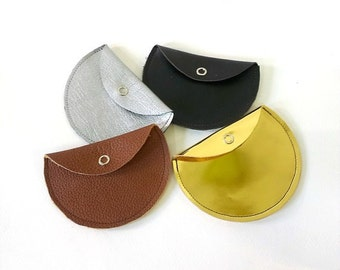Leather coin pouch / gold leather pouch - purse