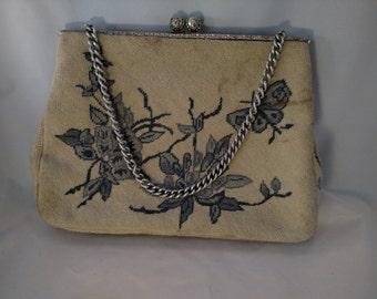 Christine Custom Petit Point  Bag of Detroit, Silver Tone Metal, Blue Floral Theme