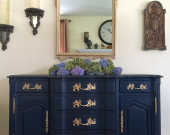SOLD  Vintage French Provincial Buffet Painted Annie Sloan Chalk Paint Custom Navy Blue