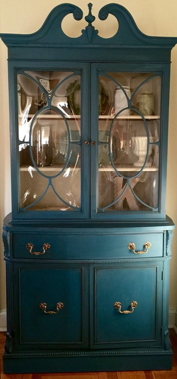 Items Similar To Vintage 1940 S China Cabinet Hand Painted