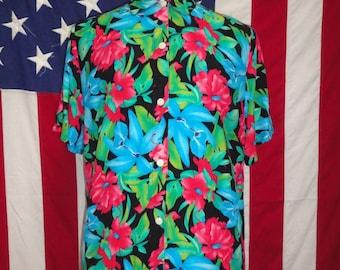 1980 's Hawaiian shirt, Hawaiian shirt, Mens shirt, strand shirt, retro shirts, Rayon, 80 's Hawaiian shirt, gered door de bel, Hawaiian