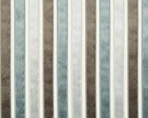 Grey Velvet Stripe Upholstery Fabric - Blue and Charcoal Grey Velvet Headboard - Denim Blue Home Decor - Stripe Velvet Throw Pillow Material
