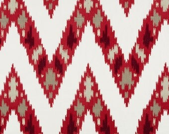 Red Taupe Embroidered Linen Fabric by the Yard - Contemporary Dark Red Chevron Pillow Fabric - Red White Embroidered Curtain Fabrics Online