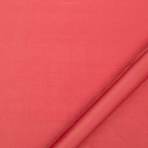 Coral Silk Upholstery Fabric Solid Color Silk Drapery