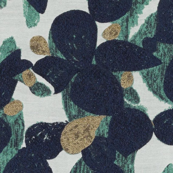 Modern Navy Blue Gold Upholstery Fabric Contemporary Teal Gold