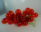 Reserved for Bill Vintage MCM Hand Blown Glass Grapes, Red Glass Grape Bunch Rare Red Glass Grapes