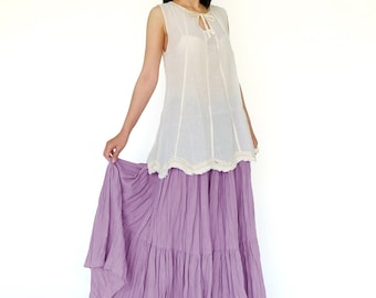 NO.5 Dusty Lilac Cotton Gauze, Hippie Gypsy Boho Tiered Long Peasant Skirt