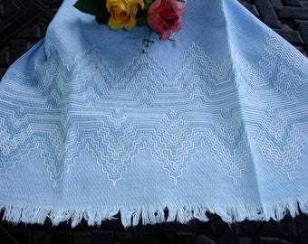 Huck Towel Vintage Robins Egg Blue with embroidery and Fringe Edging, Dish towel, circa 1960s Vintage Kitchen Towel