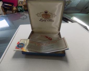 Vintage Blue Lady Ellen Box with Pamphlet - jewelry box - necklace box - hinged storage box - blue box