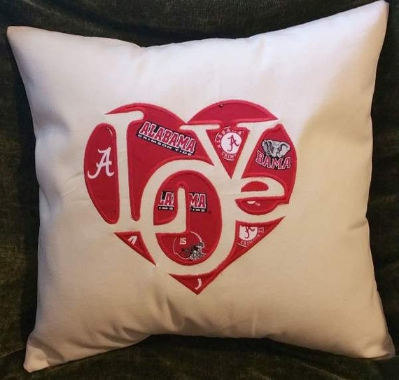 """Embroidered Alabama Roll Tide  """"Love""""  Pillow Cover  - 18 x 18- Alabama"""