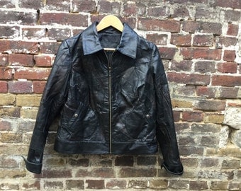 Patchwork leather jacket small size