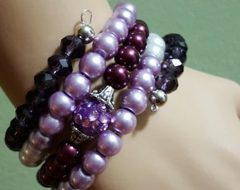 New Fashion Memory Wire Beaded Chunky Bracelets with Matching Rings