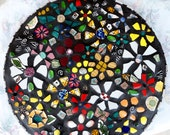 """20"""" round """"Wildflower"""" table top with black grout"""