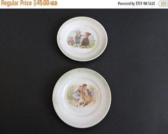 Half Price SALE Nursery Decor. Antique German Plates. Lusterware