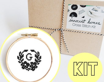 CUSTOM Floral Initial Modern Cross Stitch Kit - easy chart design - stocking filler christmas gift - personalised name - pretty cute crafty