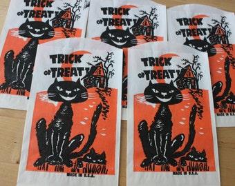 6 NOS Vintage Trick or Treat Bags, Vintage Black Cat and Haunted House bags, dark orange and black,Vintage Halloween Ephemera, 24 available