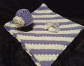 Purple and white baby gift set