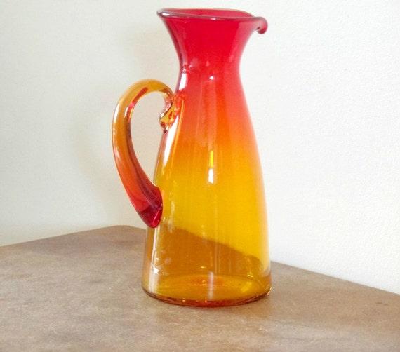 Items Similar To Vintage Blenko Tangerine Art Glass