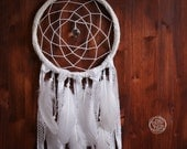 Dream Catcher - White Dreams - With Sparkling Crystal Prism and White Feathers and Laces - Boho Home Decor, Nursery Mobile