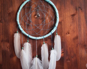 Dream Catcher - Oceansea No.4. - With Sparkling Crystal Prism and White Feathers - Boho Home Decor, Nursery Mobile