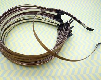 10pcs Metal headband with coffee satin 5mm Wide