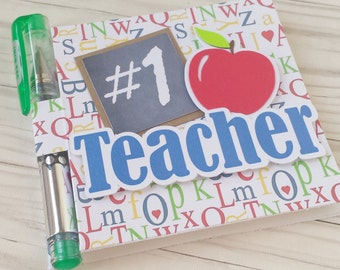 Teacher Gift - Post It Note Holder - #1 Teacher - Stocking Stuffer - With Gel Pen and Sticky Notes Pad included - Handmade - Christmas Gift